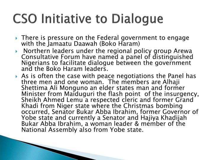 CSO Initiative to Dialogue