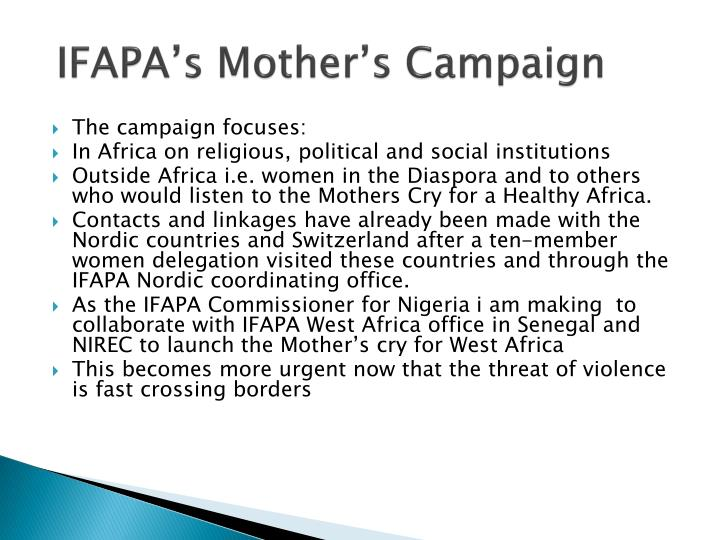 IFAPA's Mother's Campaign