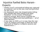 injustice fuelled boko haram experts