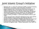 joint islamic group s initiative