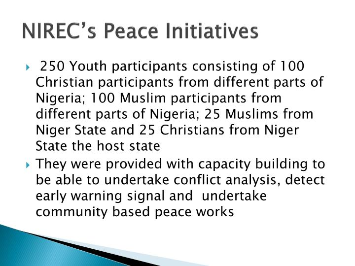 NIREC's Peace Initiatives