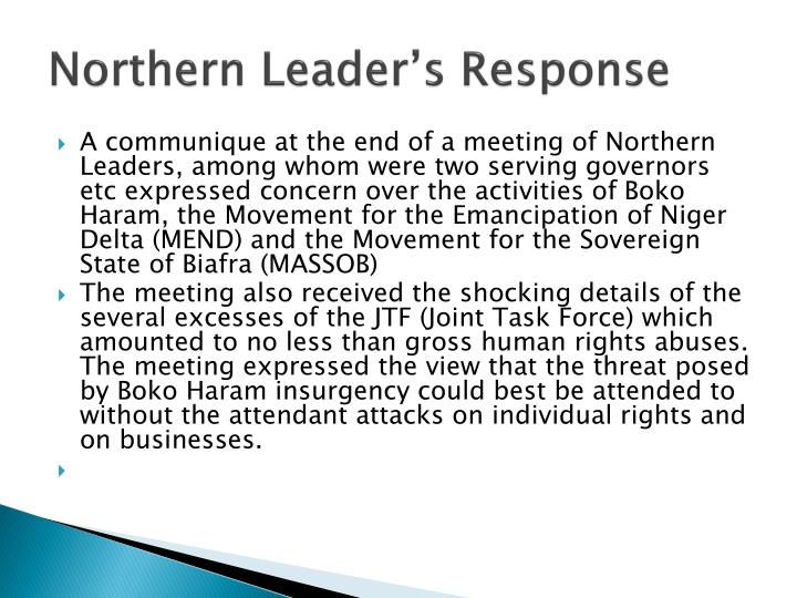 Northern Leader's Response