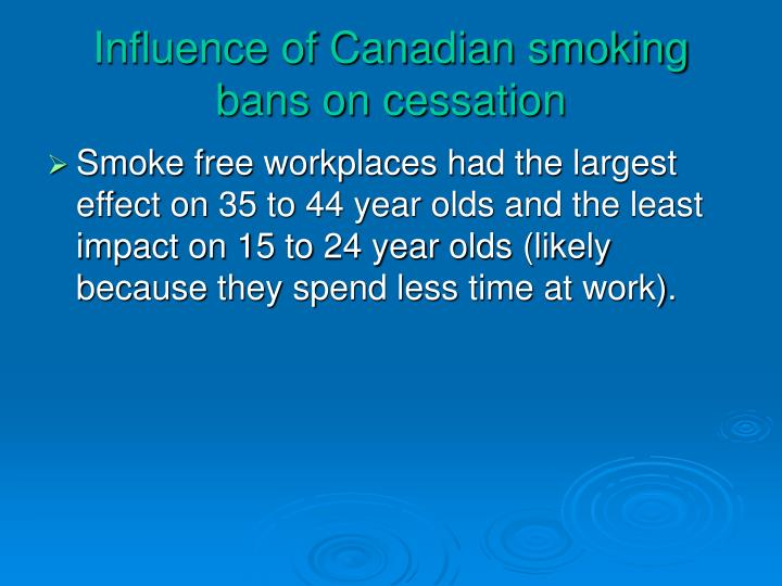 Influence of Canadian smoking bans on cessation