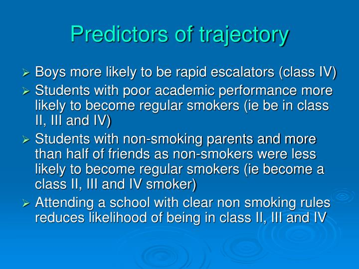 Predictors of trajectory