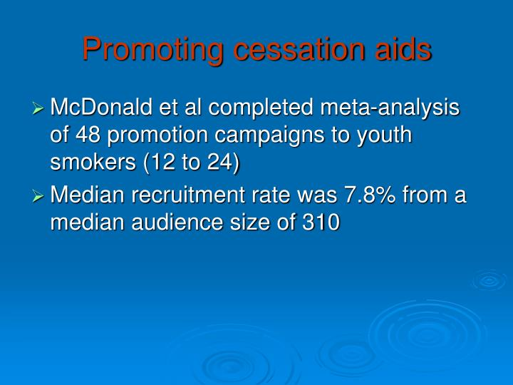 Promoting cessation aids