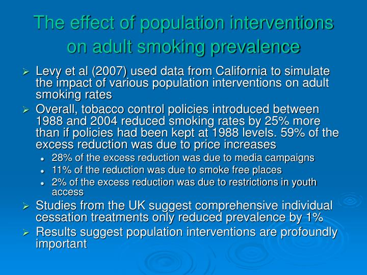 The effect of population interventions on adult smoking prevalence