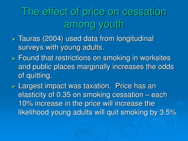 The effect of price on cessation among youth