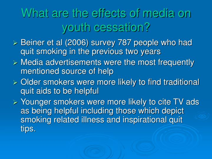 What are the effects of media on youth cessation?