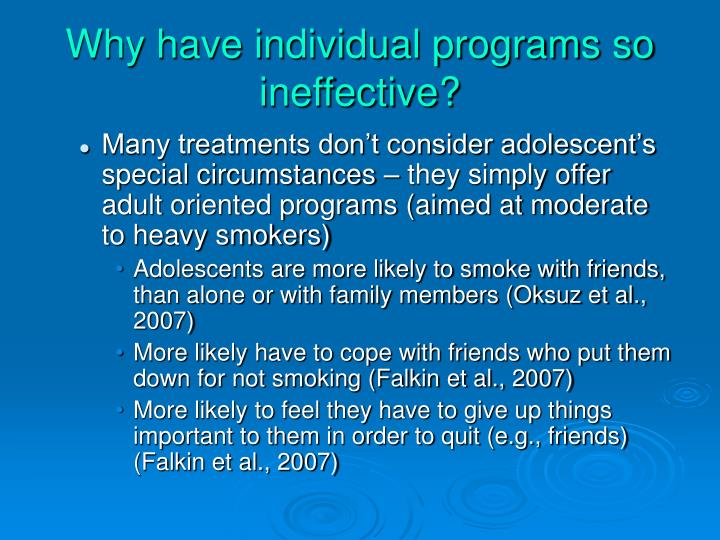 Why have individual programs so ineffective?