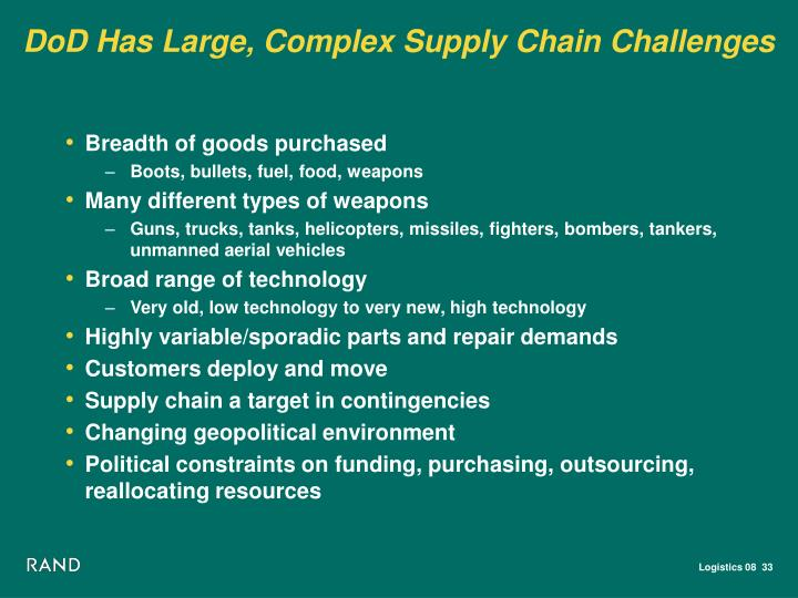 DoD Has Large, Complex Supply Chain Challenges