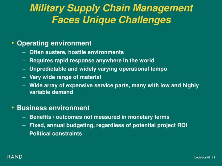 Military Supply Chain Management