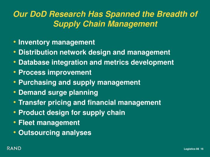 Our DoD Research Has Spanned the Breadth of Supply Chain Management
