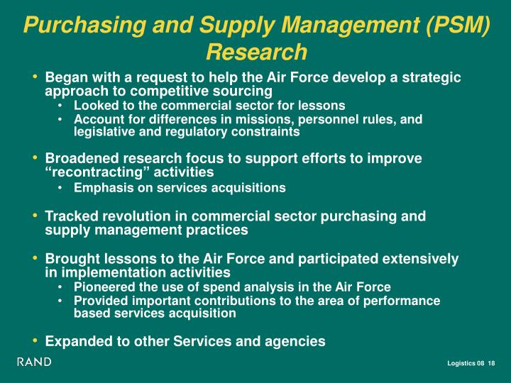 Purchasing and Supply Management (PSM) Research