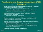 purchasing and supply management psm research