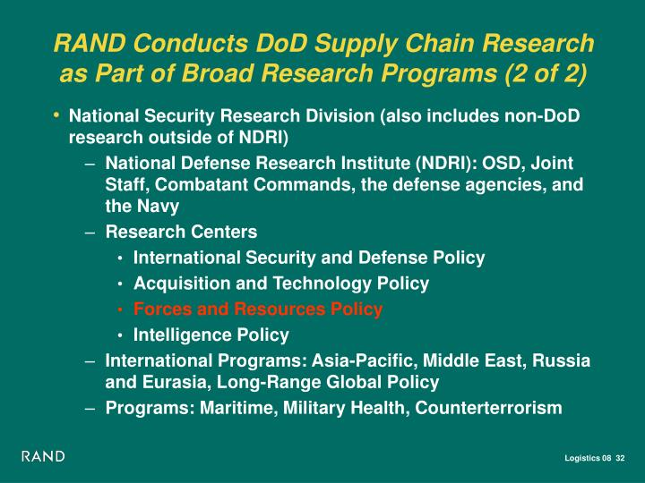 RAND Conducts DoD Supply Chain Research