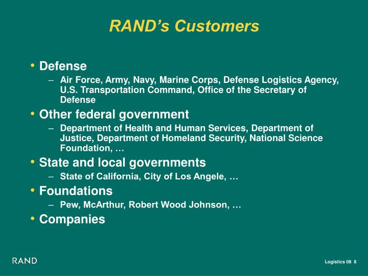 RAND's Customers