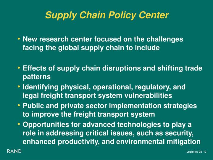 Supply Chain Policy Center