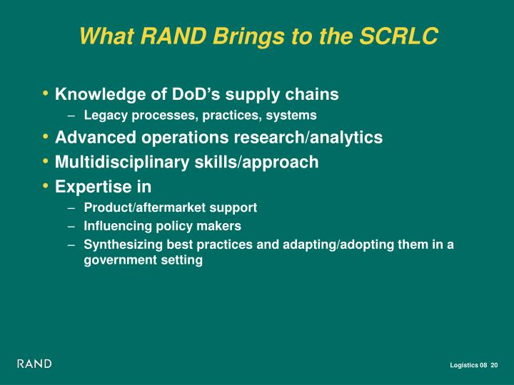 What RAND Brings to the SCRLC