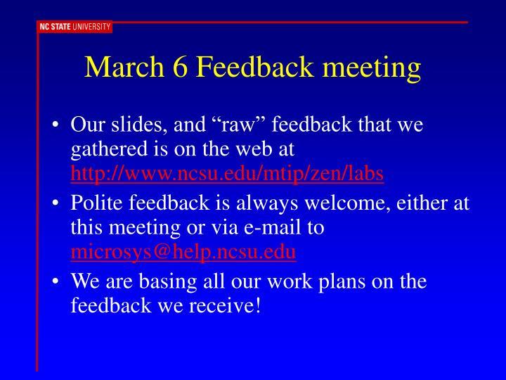 March 6 Feedback meeting