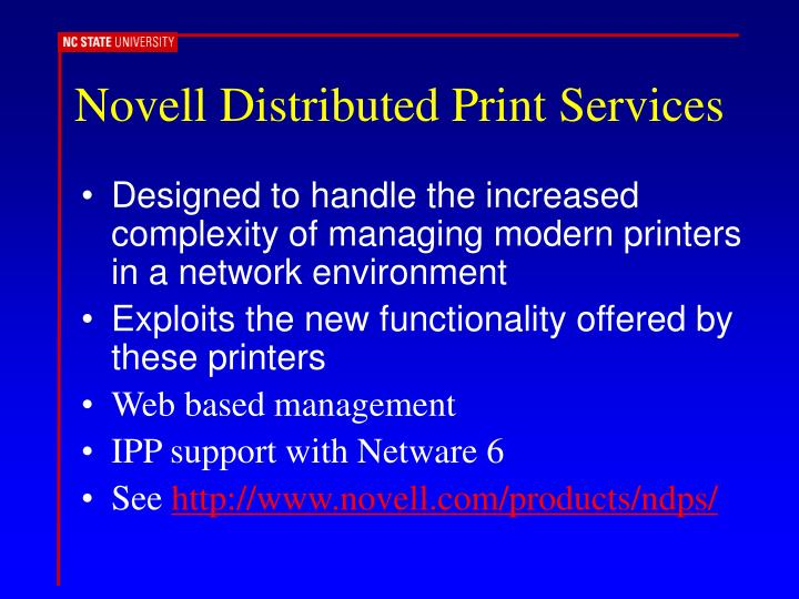 Novell Distributed Print Services