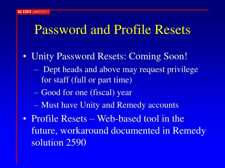Password and Profile Resets