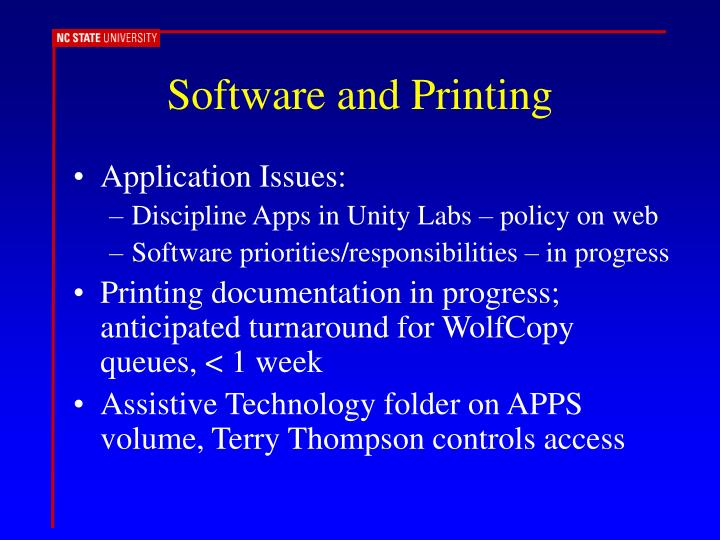 Software and Printing