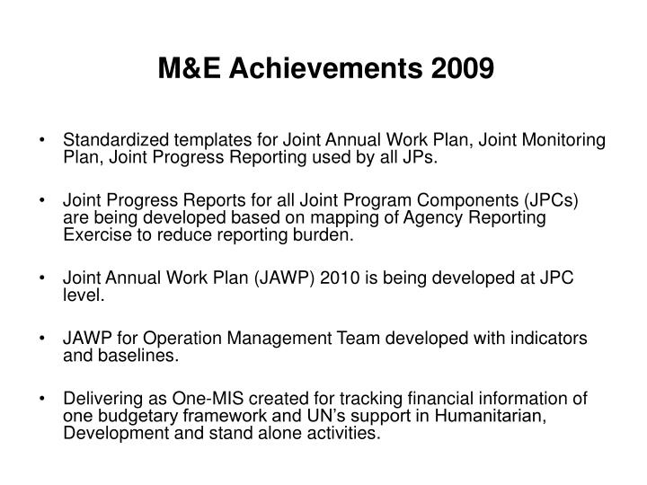 M&E Achievements 2009