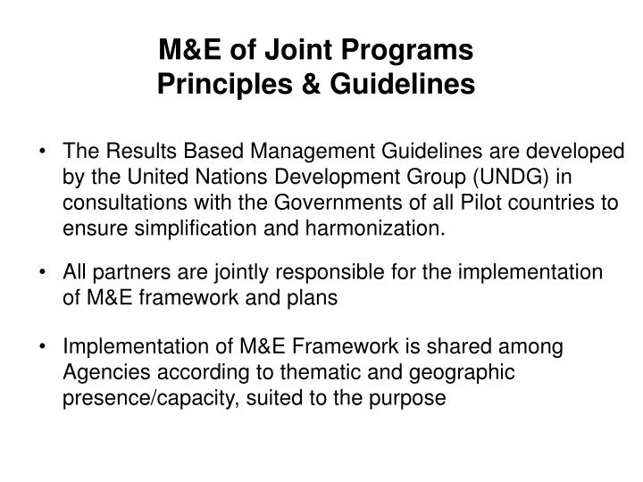 M e of joint programs principles guidelines