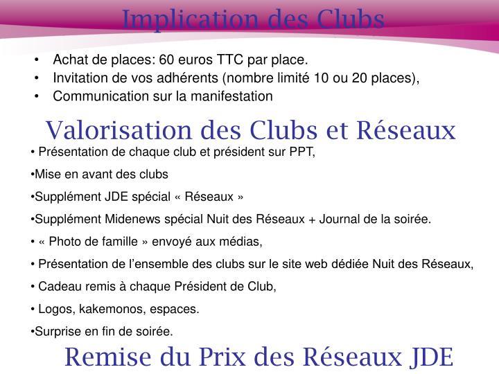 Implication des Clubs