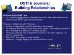 osti journals building relationships