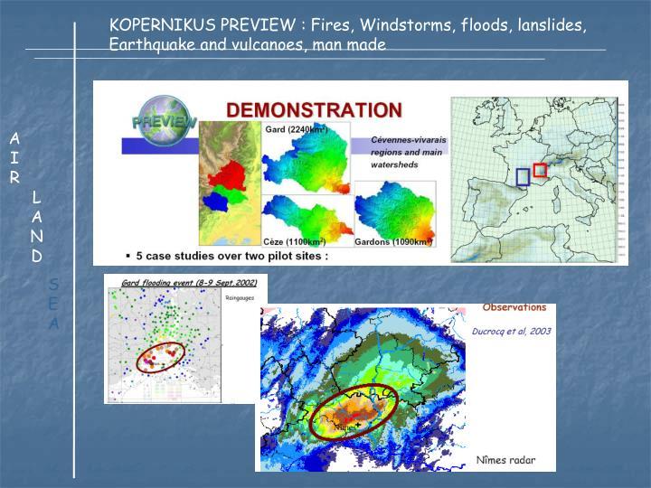 KOPERNIKUS PREVIEW : Fires, Windstorms, floods, lanslides,