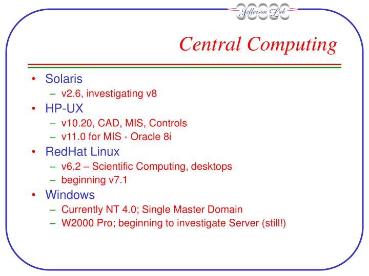 Central computing