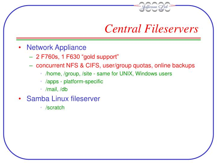 Central fileservers