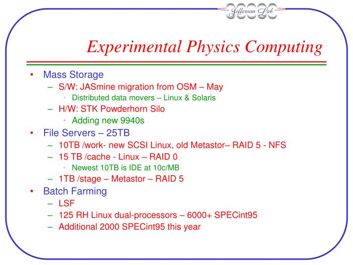 Experimental Physics Computing