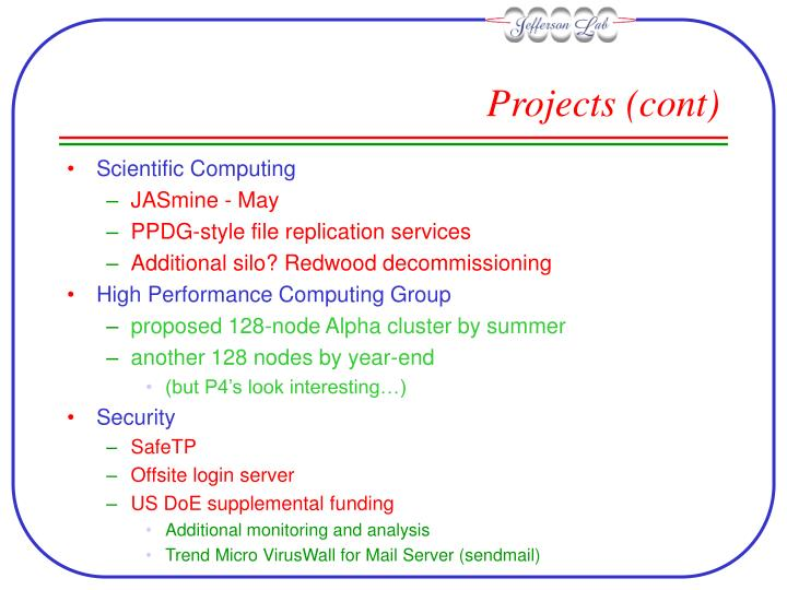 Projects (cont)