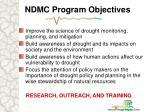 ndmc program objectives