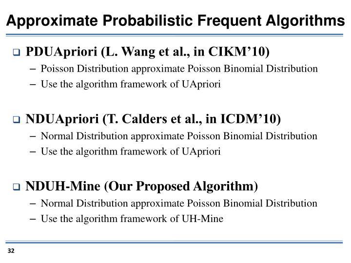Approximate Probabilistic Frequent Algorithms