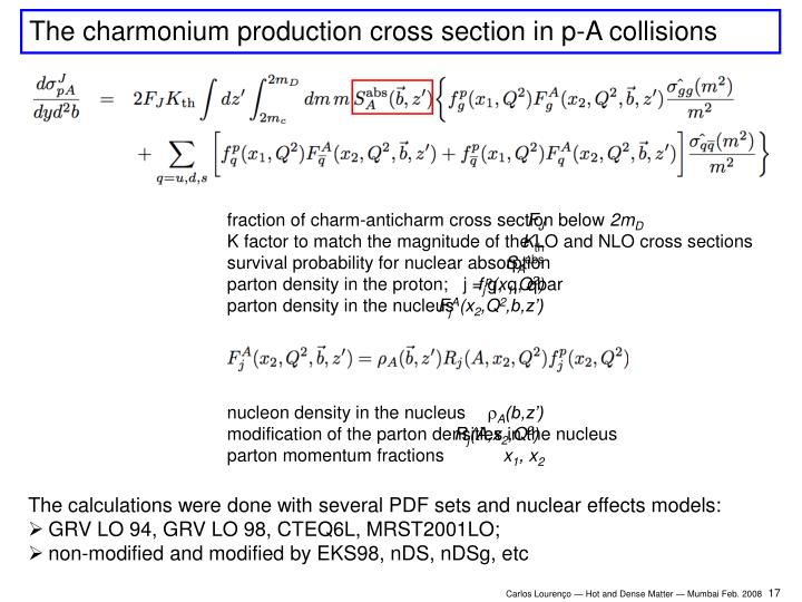 The charmonium production cross section in p-A collisions