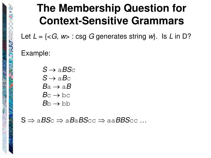 The Membership Question for Context-Sensitive Grammars