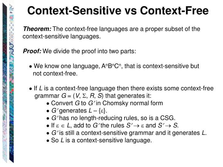 Context-Sensitive vs Context-Free