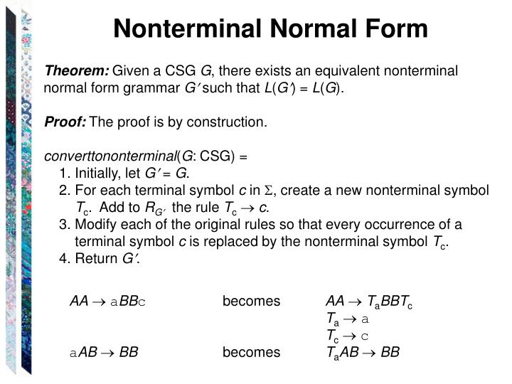 Nonterminal Normal Form