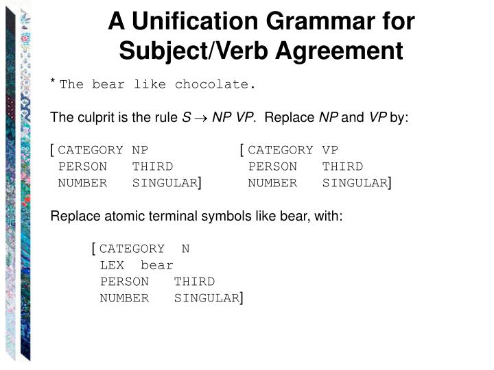 A Unification Grammar for Subject/Verb Agreement