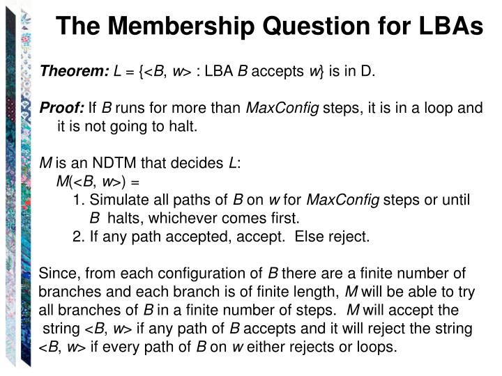 The Membership Question for LBAs