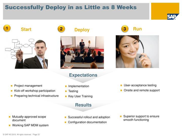Successfully Deploy in as Little as 8 Weeks