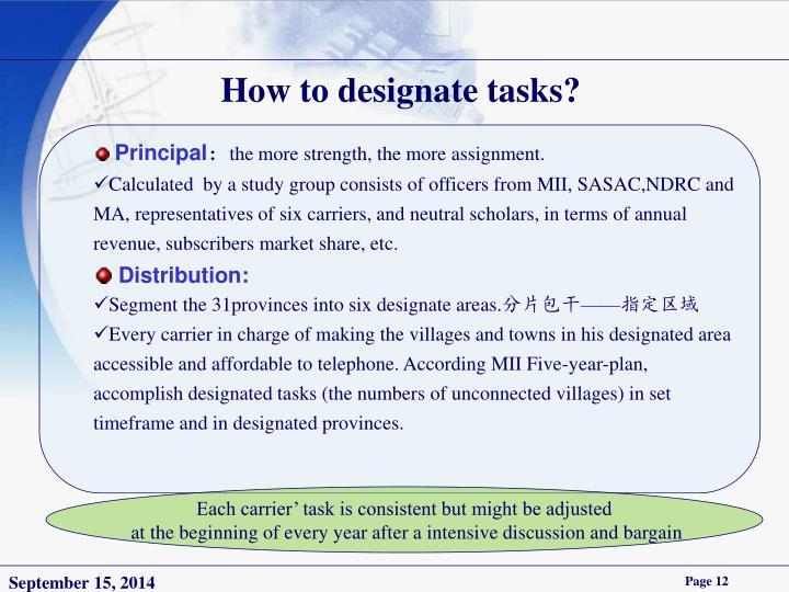 How to designate tasks?