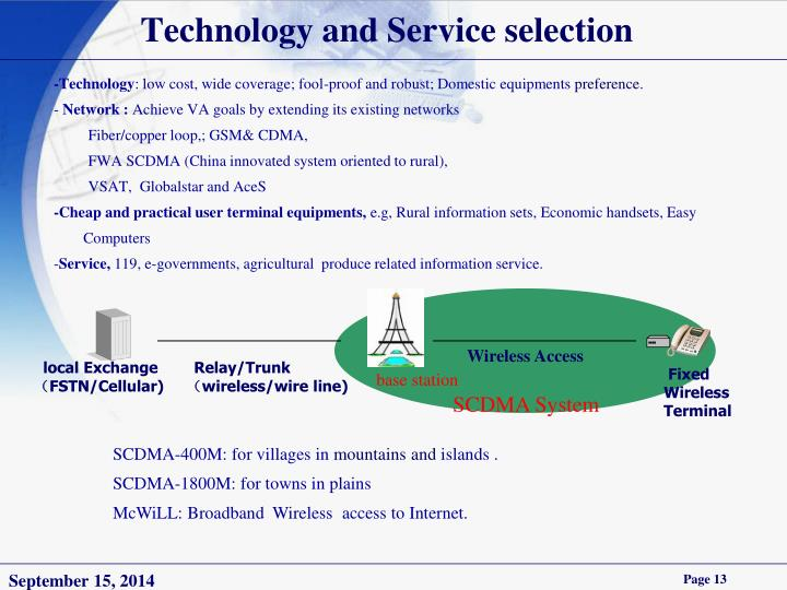 Technology and Service selection