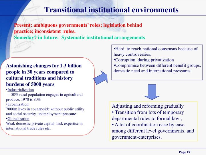 Transitional institutional environments