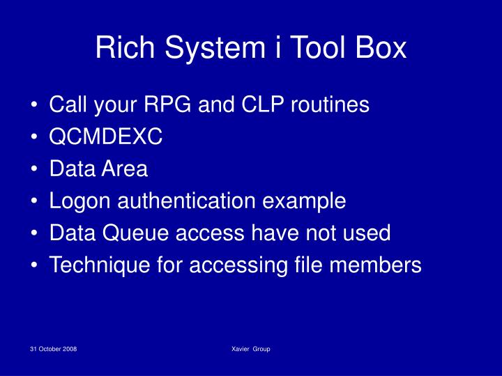 Rich System i Tool Box