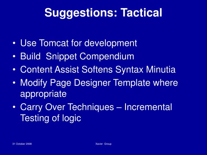 Suggestions: Tactical