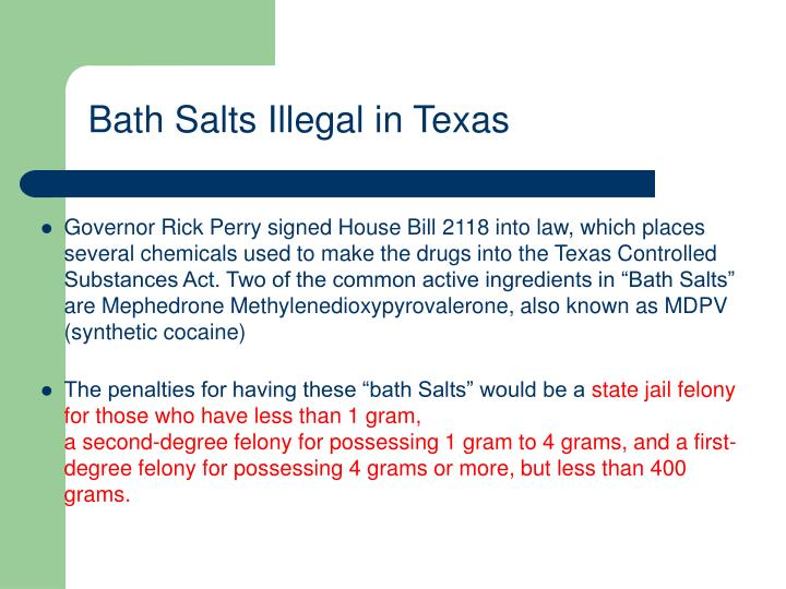 Bath Salts Illegal in Texas